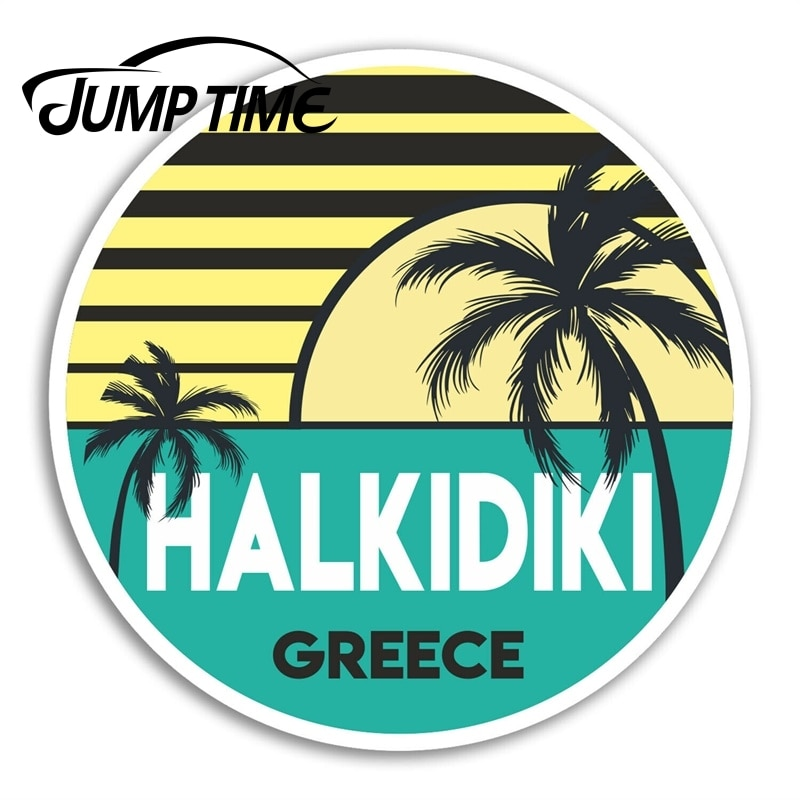 Jump Time Halkidiki Vinyl Stickers Greece Travel Sticker Laptop Luggage Waterproof Car Decal Window Bumper Auto Accessories
