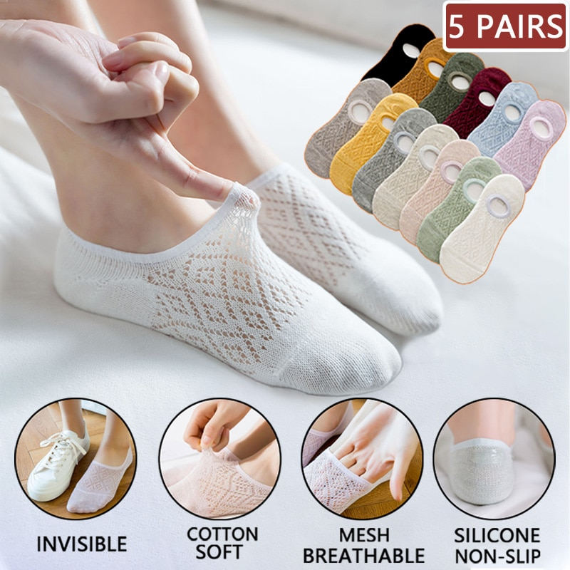 5 Pairs/Set Women Silicone non-slip invisible Socks Summer Solid Color Mesh Ankle Boat Socks Female Cotton Slipper No show Socks