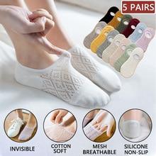 Calcetines invisibles antideslizantes de silicona para mujer, medias tobilleras de malla de Color sólido, de algodón, para verano, 5 pares