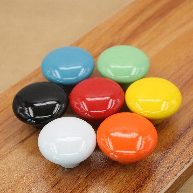 7 punhos cerâmicos das crianças colorfull do puxador do armário das cores para puxadores da gaveta da mobília puxa o armário