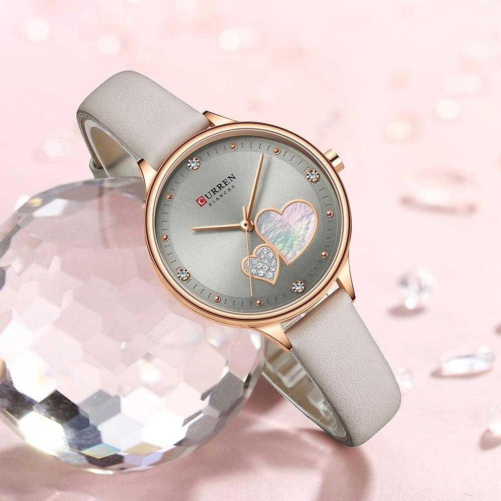 CURREN Women Fashion Gray Golden Quartz Watch Charming Rhinestone Design Waterproof Leather Band Wristwatch Luxury Casual Clock enlarge