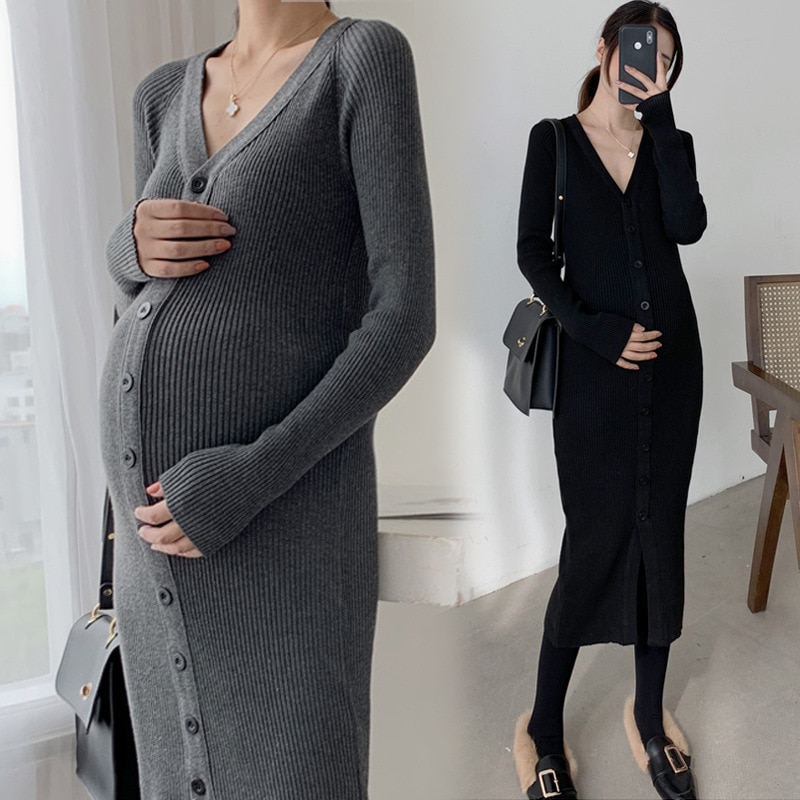 Maternity Dresses V Collar Pregnancy Dress Long Sleeve Sweater with Bottom Pregnancy Clothes Autumn Winter Clothes for Women