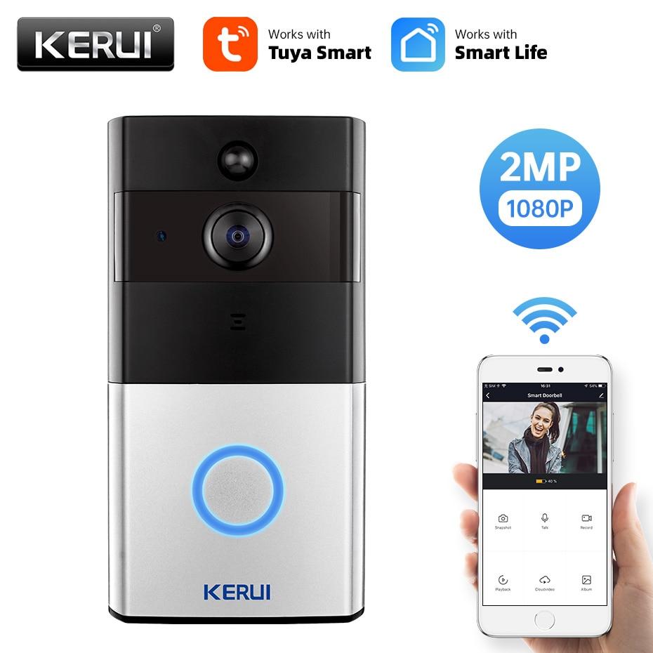 KERUI 1080P Tuya Smart WiFi Doorbell 2MP Camera Outdoor Wireless Video Intercom Smart Life Home Security Door Bell Chime