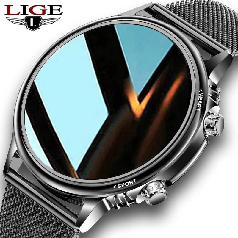 LIGE New Smart Watch Men Custom Dial Full Touch Screen Waterproof Smartwatch For Android IOS Sports