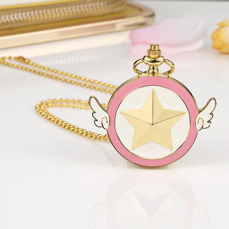 Аниме карманные часы Сейлор Мун розовыми крыльями карманные часы многоцветная детская подарочные карманные часы