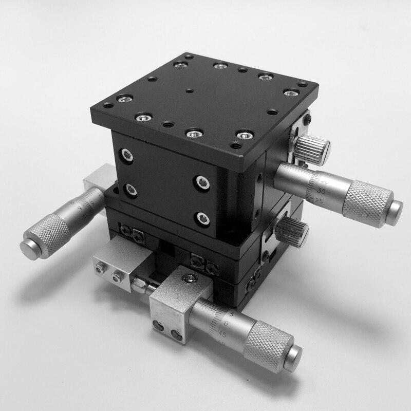XYZ 3 محور الخطي المرحلة التشذيب منصة تحمل ضبط انزلاق الجدول 60*60 مللي متر XYZ60-LM-2 مزدوجة عبر السكك الحديدية