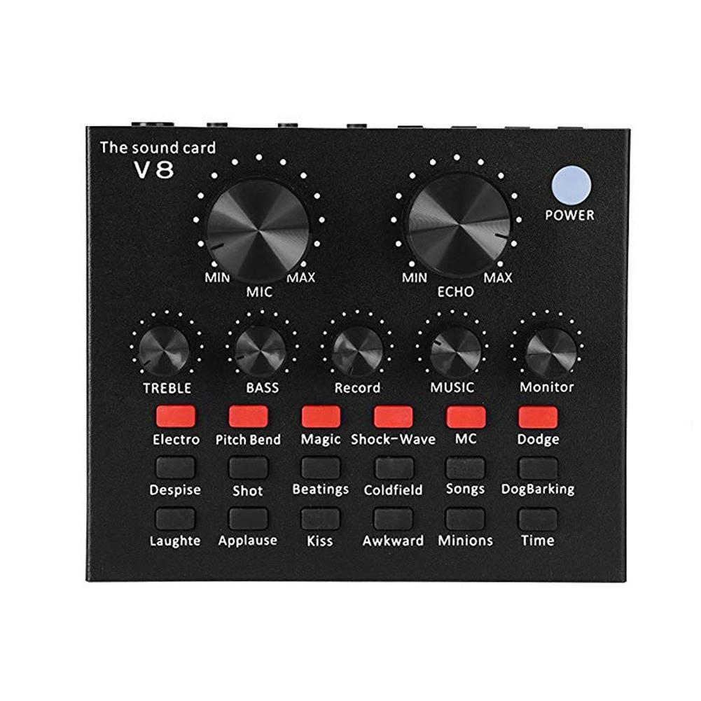 V8 de sonido en directo de la tarjeta de interfaz de Audio USB inteligente Volumen ajustable de mezclador de Audio tarjeta de sonido para la grabación de discurso