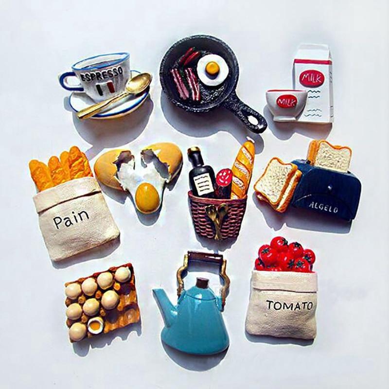 Einzigartige Nette Lustige Lebensmittel Form Magnet Kühlschrank Aufkleber Harz Kühlschrank Magnete Home Dekoration Zubehör Haushalts Kühlschrank Aufkleber ZA