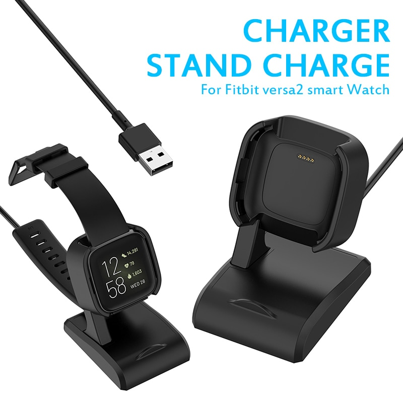 Desktop Dock Station Vertical Charger For Fitbit Versa 2 Smart Watch  Base Holder USB Charging Cable Cord Stand Versa2 Charger ym wd05 c creative bamboo mobile phone smart watch charging holder multi function charger stand usb smartphone charging base