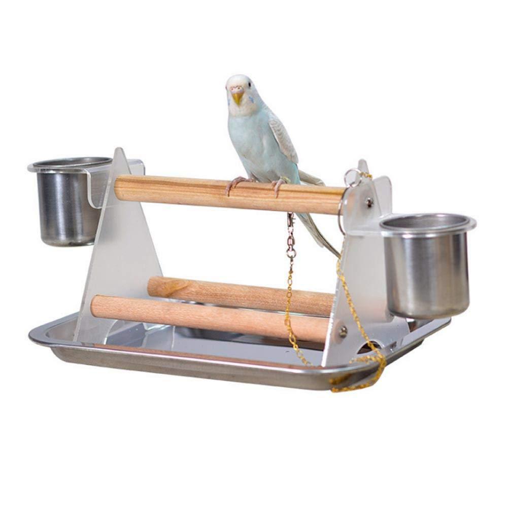 Plataforma de agarre de acrílico loro mediano y pequeño con marco triangular soporte de pájaro soporte de loro con tazas