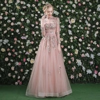 its yiiya evening dress pink long sleeves floral print lace up a line floor length party gown evening gowns prom dresses lx028
