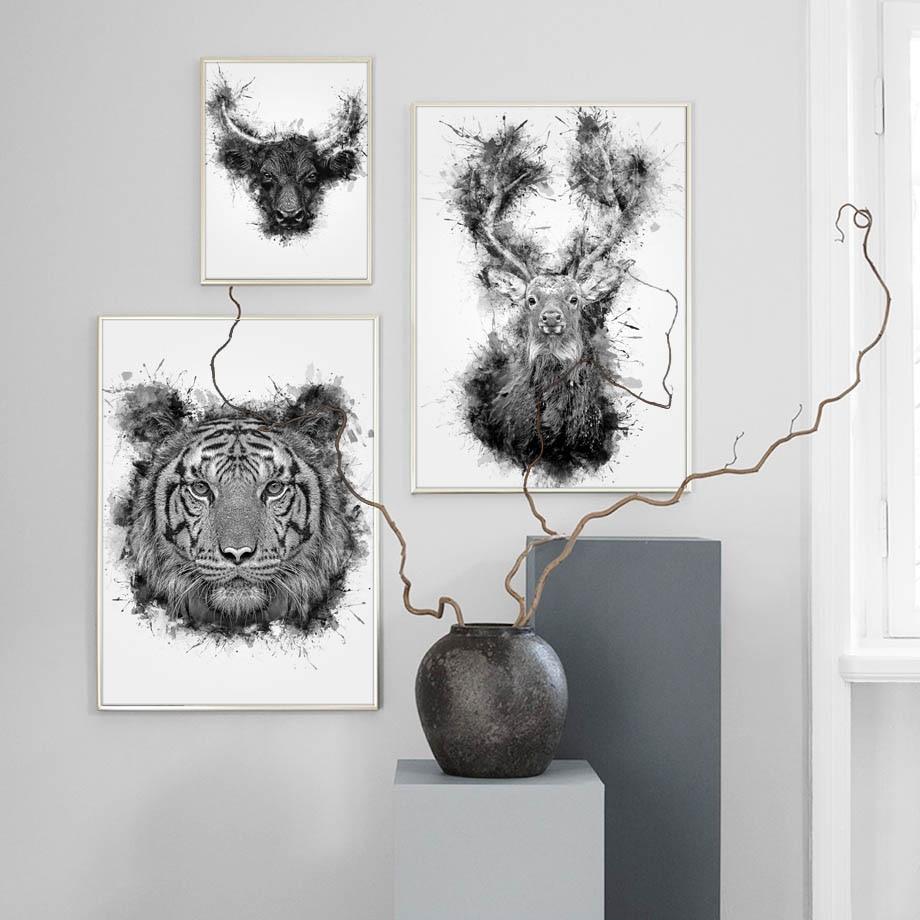 Cuadro sobre lienzo para pared, carteles nórdicos de ciervos y Tigre, cuadros para pared en blanco y negro para salón de estar