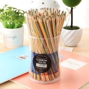 72PCS/Lot Drawing Pencils 4 in 1 Rainbow Colored Pencils Set for Art Drawing, Coloring and Sketching, Triangular Shaped