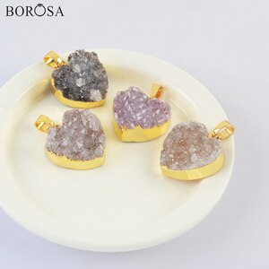 """BOROSA Gold Color Heart Natural Agates Druzy Pendant Necklace, 18"""" Heart Druzy Necklace for Women Birthday Valentines Gift G2019"""