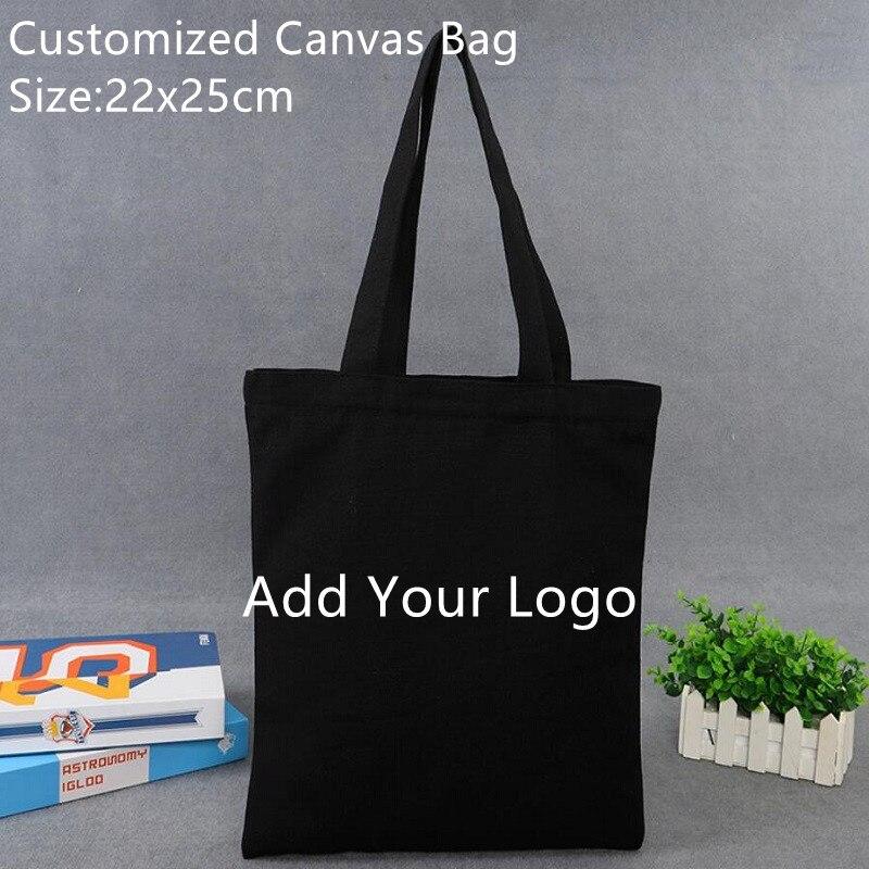 30pcs Customized Logo Bag Size 22x25cm Canvas Bag Wholesale Qulified Reusable Women's Bag Canvas Promotion Plain Bag