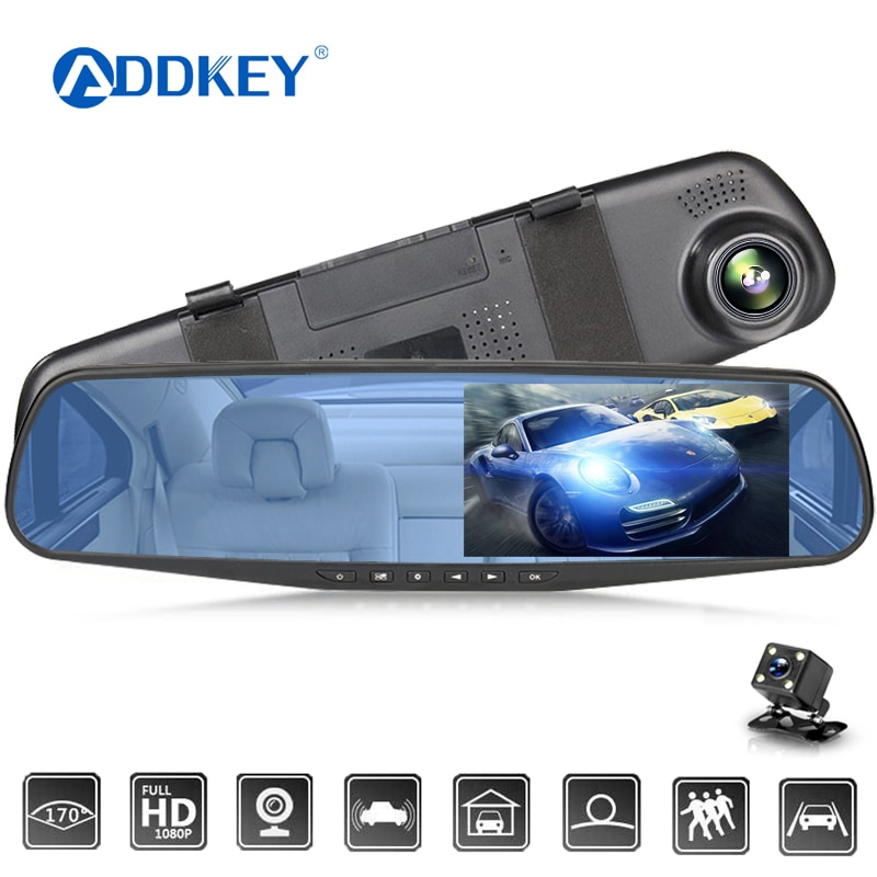 ADDKEY جهاز تسجيل فيديو رقمي للسيارات 4.3 بوصة كاميرا كامل HD 1080P التلقائي كاميرا الرؤية الخلفية مرآة مع DVR و كاميرا مسجل Dashcam جهاز تسجيل فيديو رقمي ...
