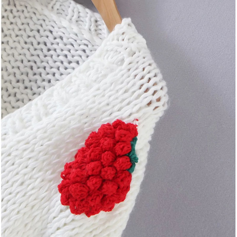 2021 Autumn New Women College Style Knitted Cardigan Female Small V-neck Sweater Loose Style White Color Red Strawberry Coat enlarge