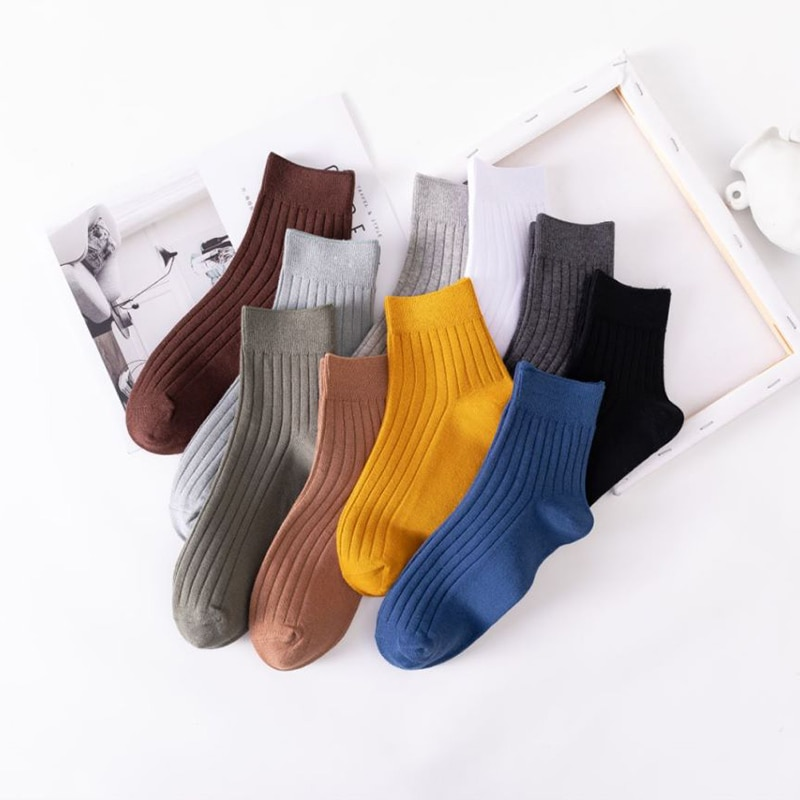 10 Pairs Pack Men Socks Set Spring And Summer Cotton Intensification Not Smelly Feet Absorb Sweat Solid Color Trend All-match Sh