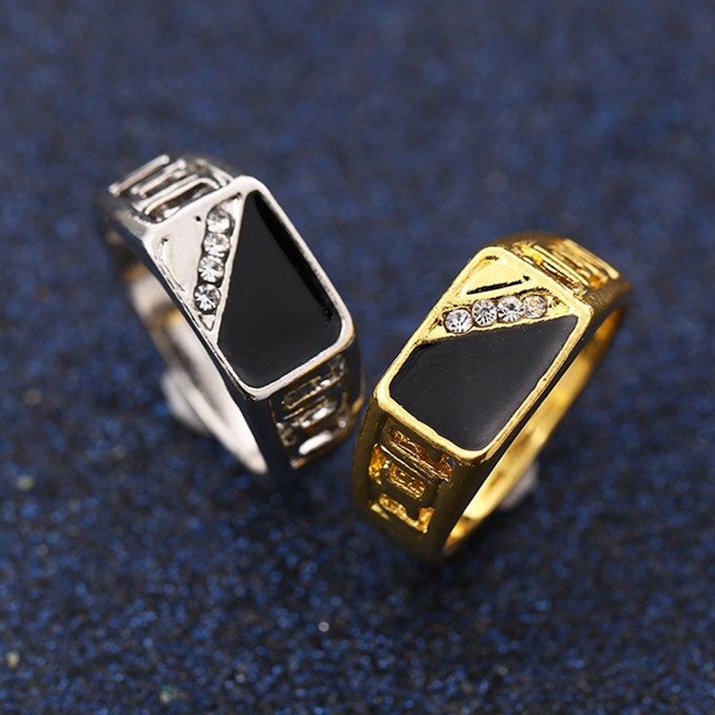 Aolly conjunto broca strass individualidade delicado luxuoso tamanho 17-22 homens legal simples anel de prata dourado jóias presente