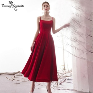 Red Prom Dresses Long 2021 Ankle Length Lace Up A-Line Satin Simple Formal Evening Dress Party Gowns Vestido De Fiesta Cheap