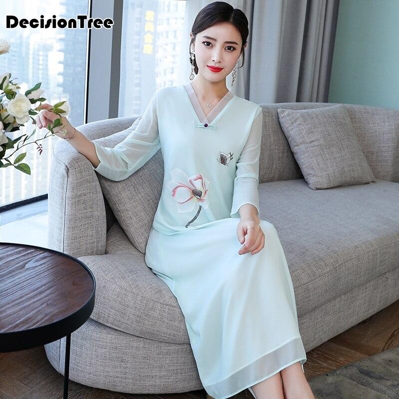 Vestido chino de encaje de Boda China, vestido de mujer chongsam femenino, vestido tradicional chino largo de manga larga para fiesta qipao, 2020