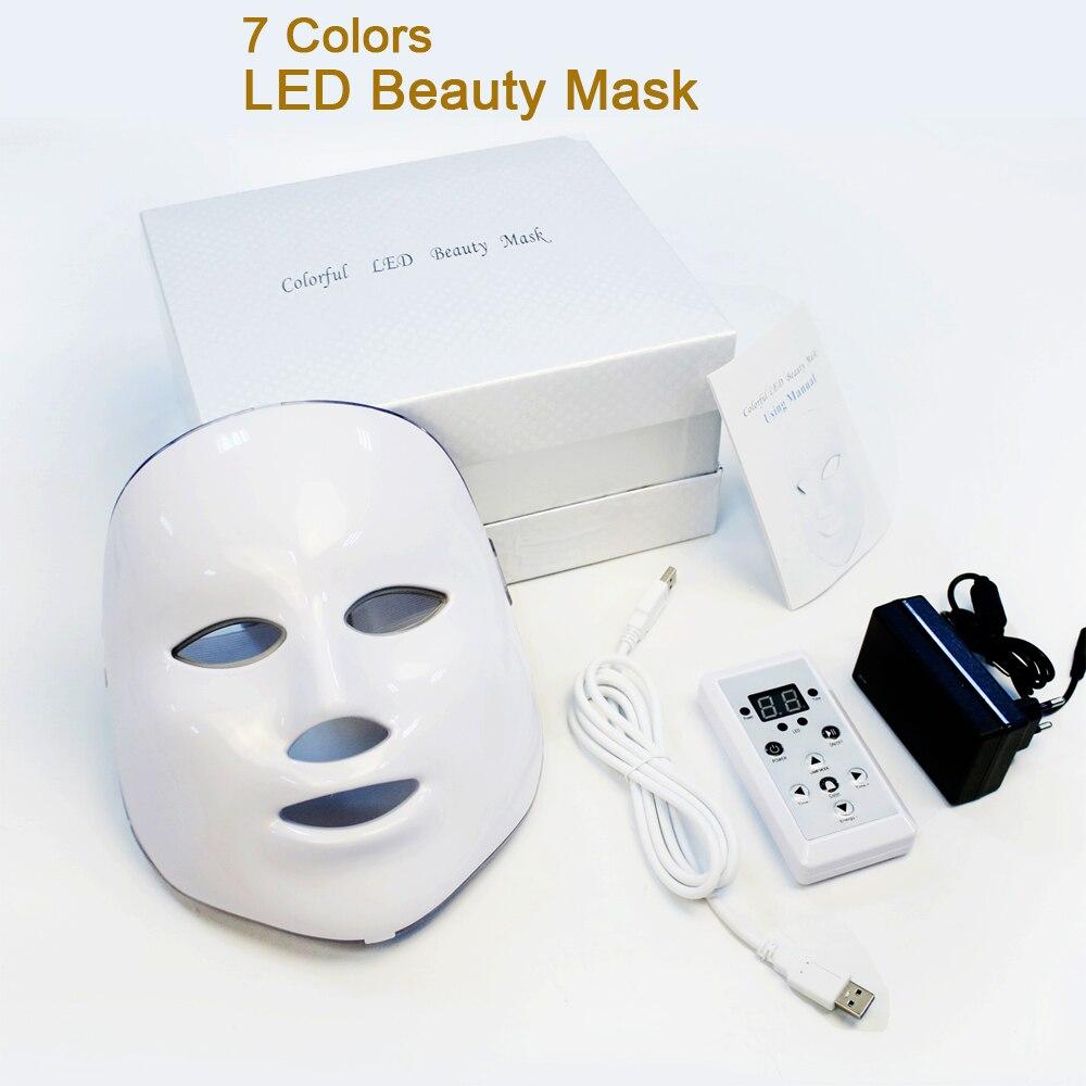 7 ألوان LED قناع الوجه الفوتون Led الكورية الفوتون علاج للوجه آلة قناع العلاج بالضوء حب الشباب التجاعيد إزالة الجمال Led قناع