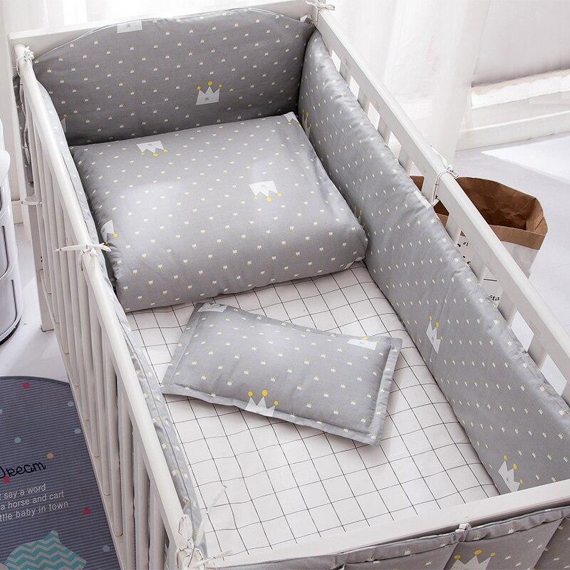 Juego de ropa de cama Crown de 6/9 Uds. Para cuna de bebé, decoración para dormitorio, edredón, sábana para cuna, parachoques para bebé de 120x60/120x70cm