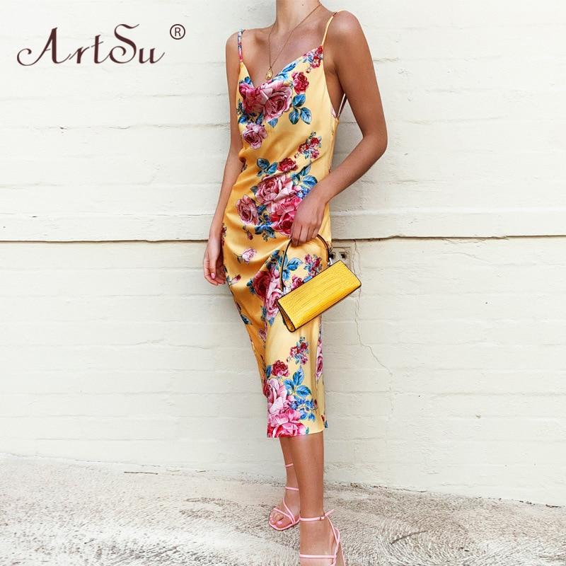 ArtSu-maxivestido con espalda al aire, prenda sexi de satén con estampado Floral de primavera para mujer, Vestido largo de verano 2020