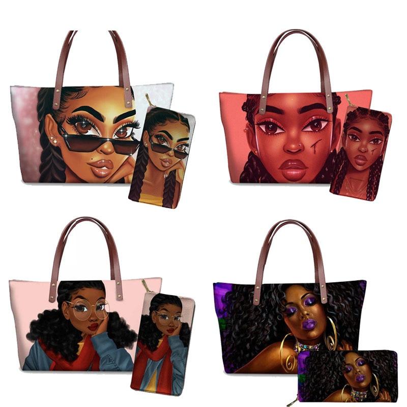 Bolsos de mano para mujer, marcas de diseñador para playa de arte africano, Bolsa femenina Afro negro para chicas, bolsos de mano de piel sintética, cartera 2020