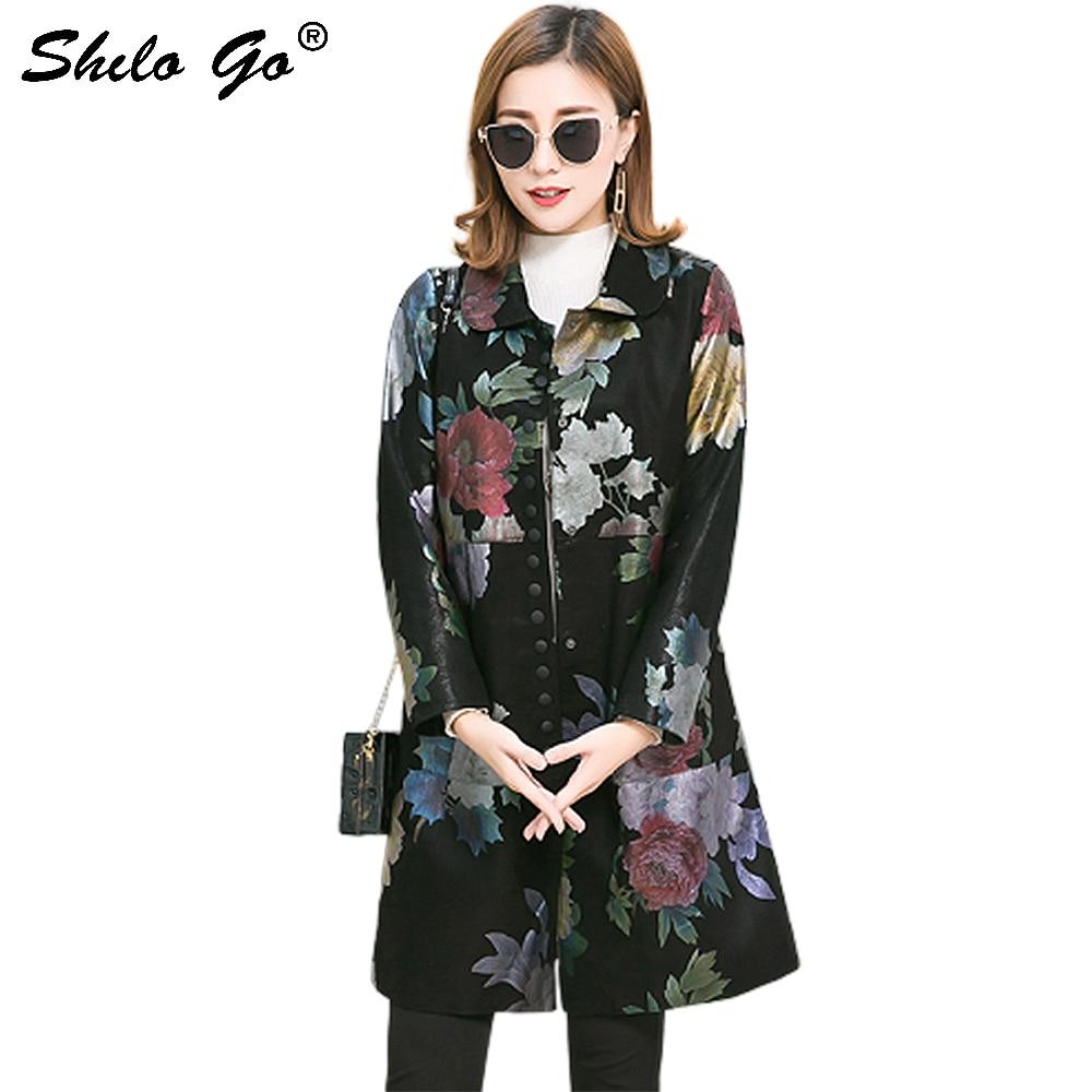Echtes Leder Mantel Plus Größe Vintage Floral Gedruckt Peter Pan Kragen Taste Vorne Schaffell Mantel Frauen Herbst Casual Outwear