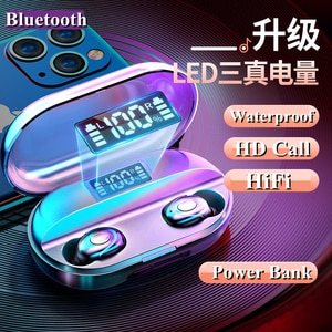 Wireless Earphones TWS Bluetooth 5.0 Mini Earbuds Stereo Bass LED Power Display Noise Cancelling Sports Waterproof Earbud In Ear