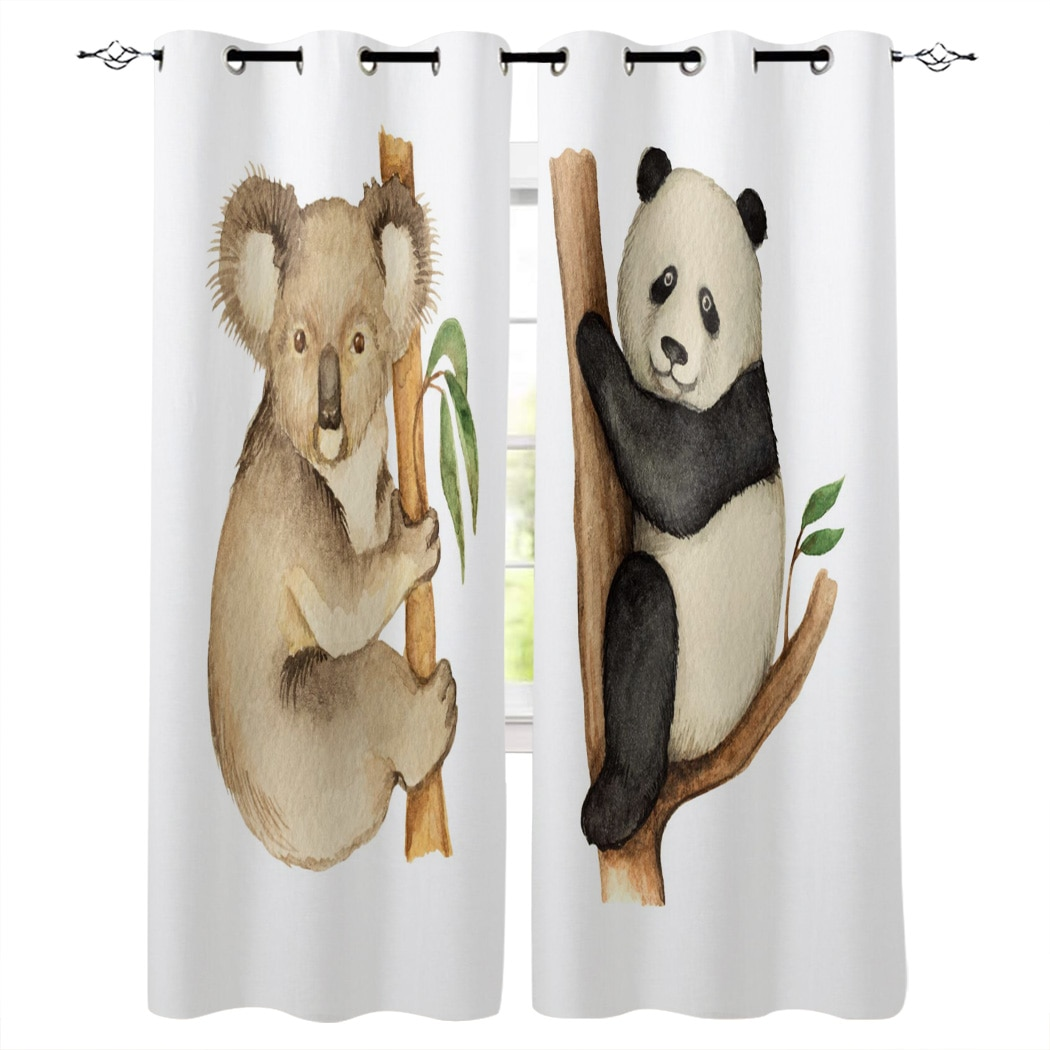 Koala Panda Tree Leaves Illustration Window Curtains Living Room Curtain Home Decor