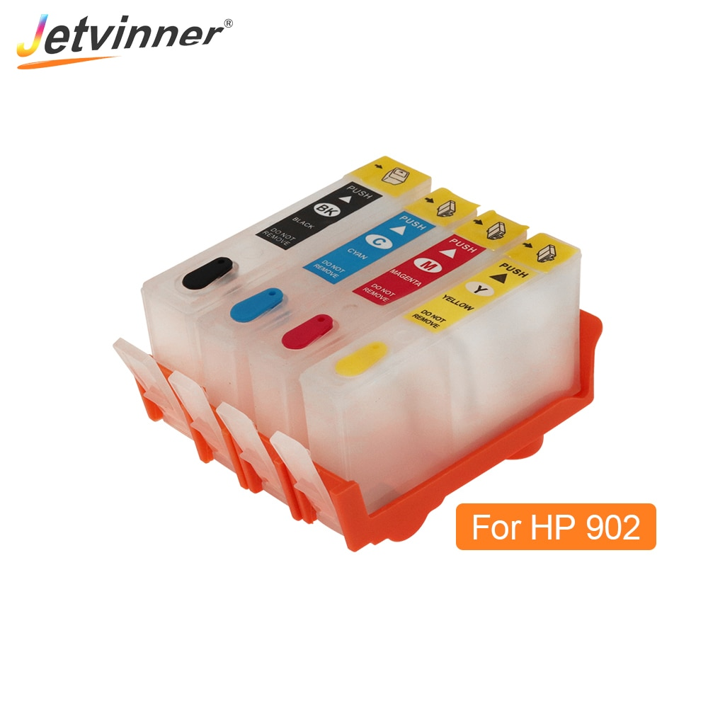 Jetvinner para hp902 hp 902 cartucho de tinta recarregável com chips de arco para hp officejet pro 6950 6951 6954 6956 6958 6960 impressoras