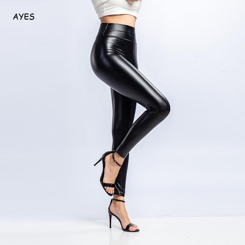 Mulheres outono inverno calças de couro do plutônio do falso leggings de couro 2020 cintura alta preto magro lápis calças de couro clube rua xs xxl