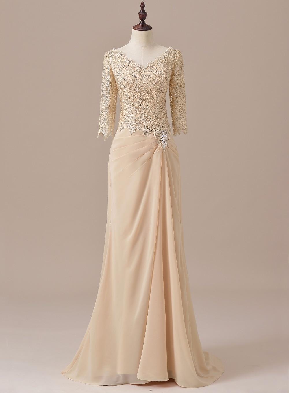 Elegante três quartos mangas rendas mãe da noiva vestido champanhe para o noivo casamento longo formal vestido de noite SLD-M11