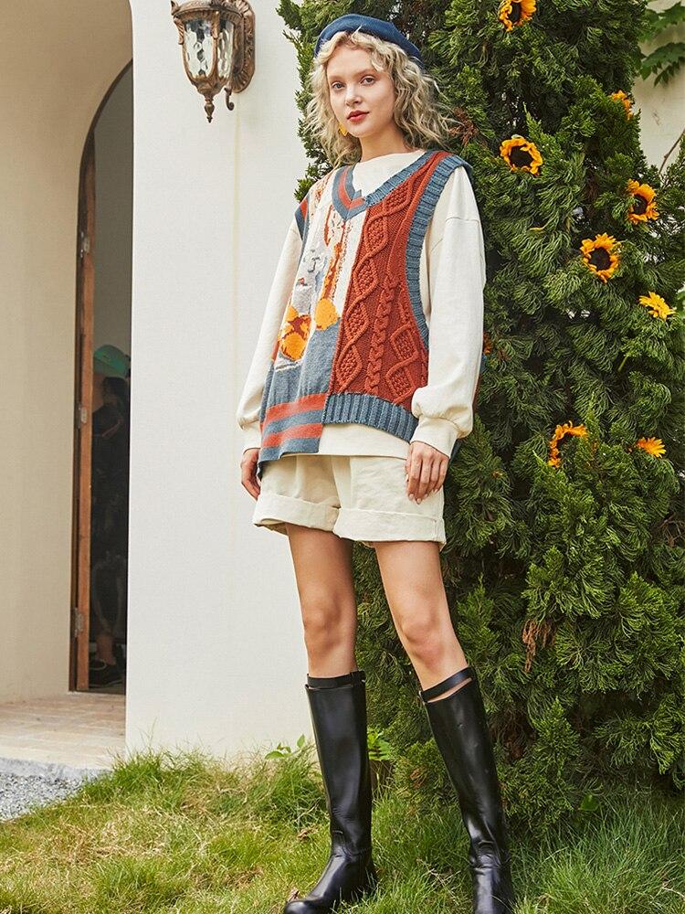 【Biutefou】Original Design 2021 Autumn Women Vintage Art Graffiti Sleeveless Sweater enlarge