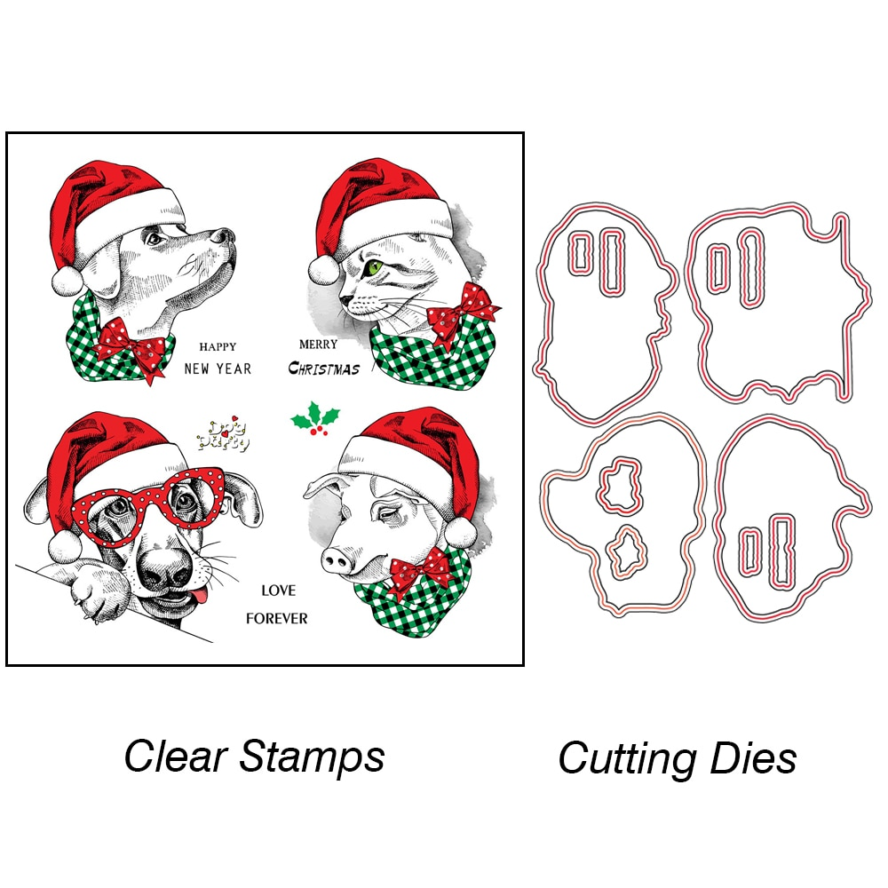 AZSG Lovely Christmas Mascot Cutting Dies Clear Stamps For DIY Scrapbooking Decorative Card making Craft Fun Decoration Supplies