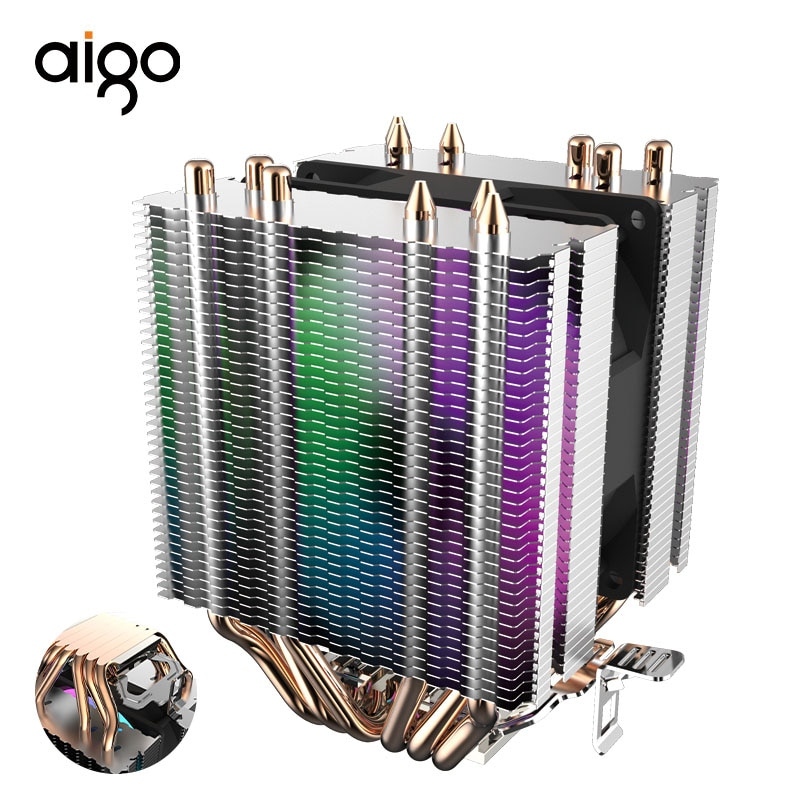 Aigo L6 dos Torre CPU Cooler disipador de calor de PC con 6 contacto directo tubos de calor del radiador LED de 90mm ventilador CPU de computadora refrigerador de aire