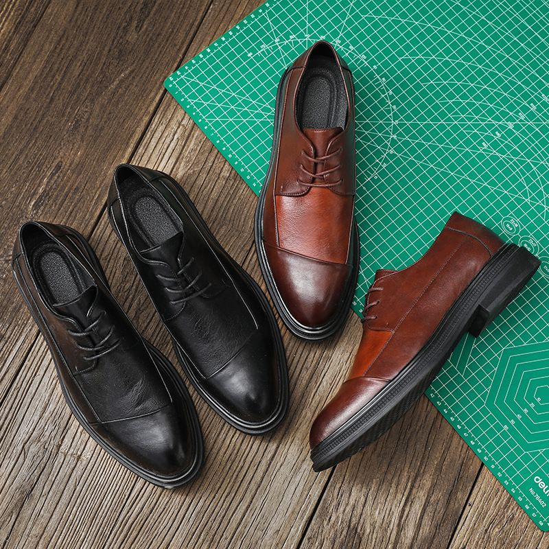 2021 New Men's Shoes Fashion Casual Business Banquet Color Matching PU Classic Stitching Lace Low-he