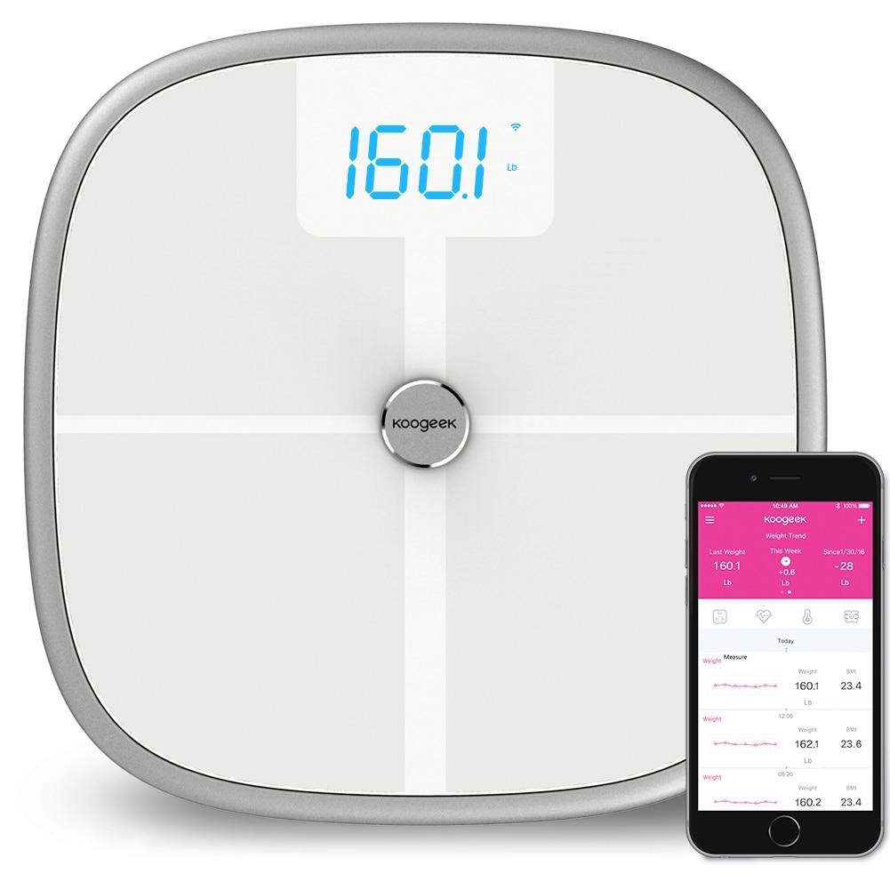 RU Stock Koogeek FDA Smart Health Scale Bluetooth Wi-Fi Sync Measures Muscle Bone Mass BMI BMR and Visceral Fat Weight Body Fat