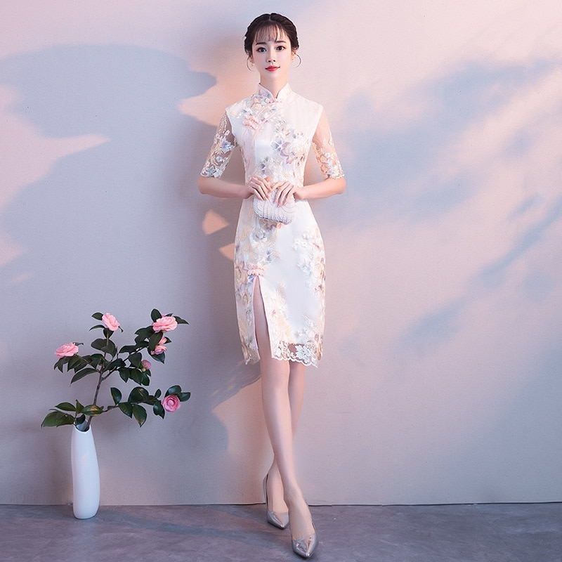 2020 Fashion Short Cheongsam Modern Summer Dress China Lace Embroidery Bride Chinese Wedding Qipao Oriental Style Party Dresses