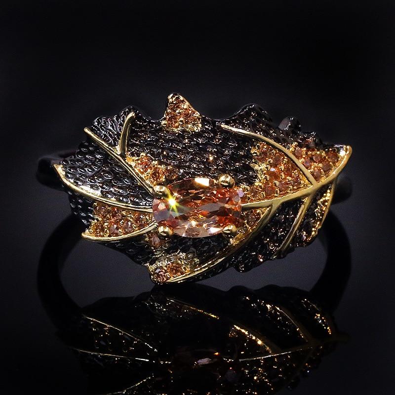 Retro 925 prata esterlina oval topázio anéis de casamento para mulheres meninas preto ouro elegante folhas anel italiano jóias finas