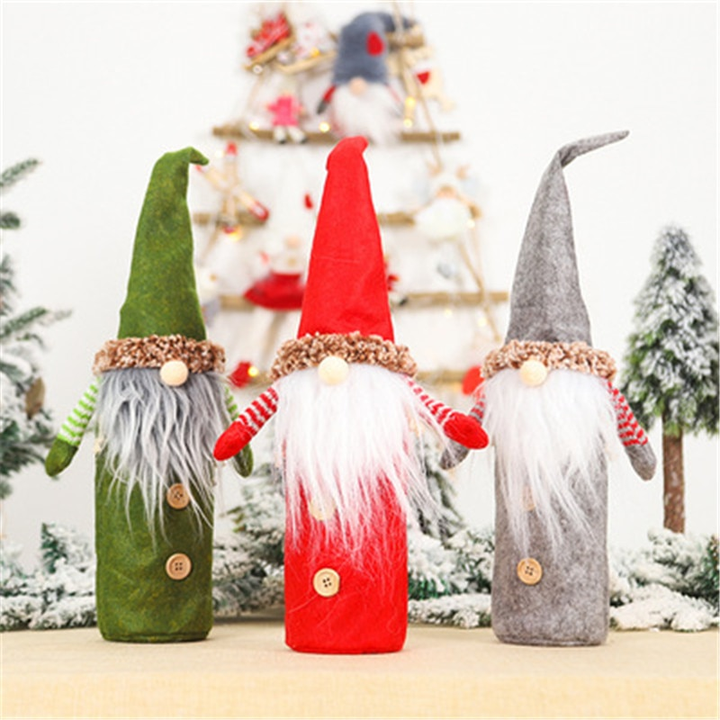Christmas Wine Bottle Covers Bag Holiday Santa Claus Champagne Bottle Cover Red Merry Christmas Table Decorations for Home santa claus snowman elk christmas decorations wine bottle cover plaid linen bottle decoration champagne bottles topper bag