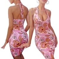 women sexy halter bandage skinny dress female fashion flower printing backless short dress party summer 2021