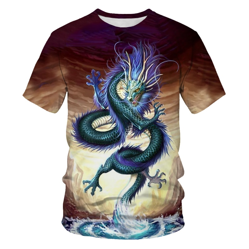 Summer fashion new men's T-shirt mythical beast Kowloon marble 3D pattern printing casual sports short-sleeved shirt