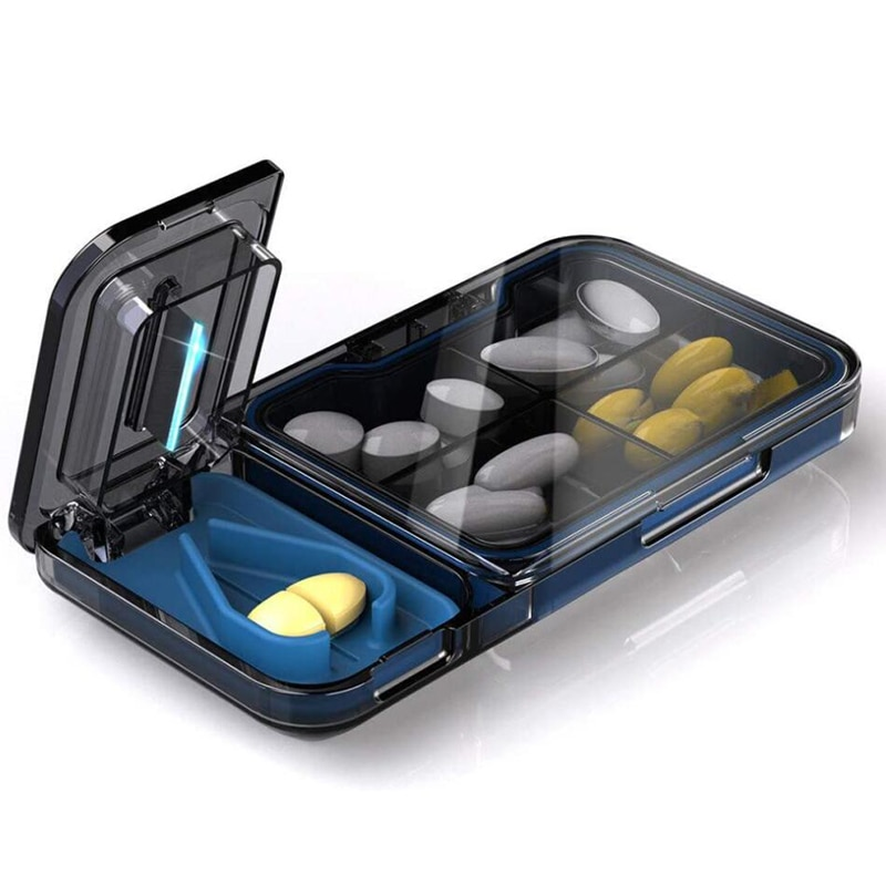 New 2 In 1 Portable Medicine Pill Holder Tablet Cutter Splitter Pill Case Drug Storage Container Pill Cutter Separate Divider