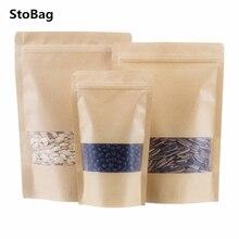 StoBag 50pcs givré fenêtre Kraft papier sac Ziplock auto-supportant sec marchandises emballage stockage étanche à lhumidité sacs scellés