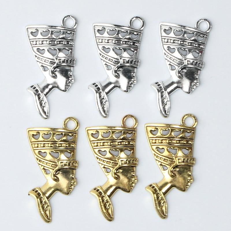 12 Uds. Colgante con retrato de cabeza de reina egipcia cleopatra para fabricación de joyería DIY collar hecho a mano Accesorios
