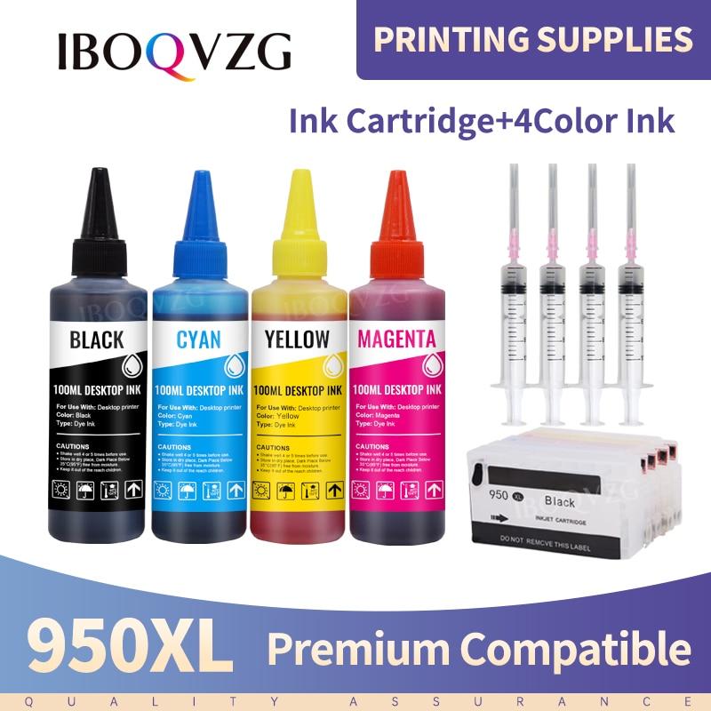 Iboqvzg para hp 950 951 recarga cartuchos de tinta para hp officjet 8100 8600 8610 8620 251dw 276dw impressoras com chip + 400ml tinta