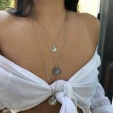 FNIO Vintage gravure pièce collier femme mode médaille dor collier multicouche pendentif Long collier bohème bijoux